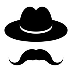 black hat with mustache on a wooden background
