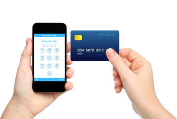 isolated female hands holding phone and credit card and enter a