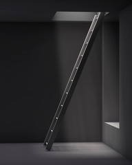 ladder in the grey interior with a hale on the ceiling
