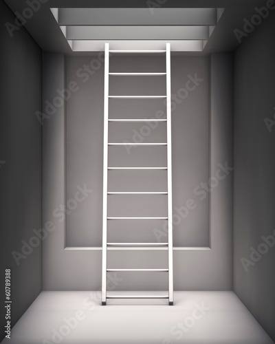 ladder in the grey interior with a hole on the ceiling