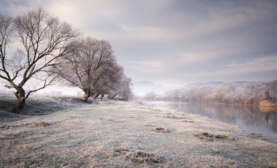 autumn morning with frost on the grass near a river