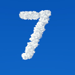 Clouds in shape of number seven icon on a blue background
