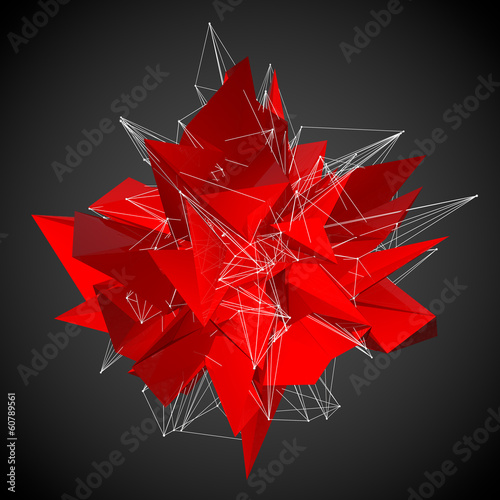 abstract red modern triangular shape on a black background © sommersby
