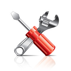 Screwdriver and wrench, tools icon vector