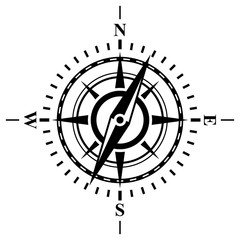 Compass with wind rose.