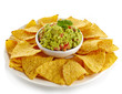 Guacamole dip and nachos
