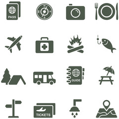 Vector icons for travel and tourism.