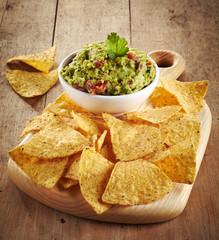 Guacamole dip and nachos