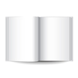 White opened book isolated vector