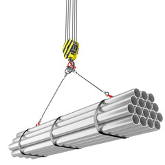 Crane hook lifting of steel pipes