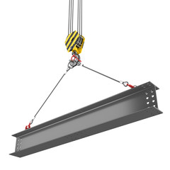 Crane hook lifting of steel beam