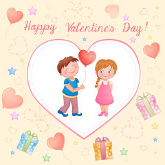 Valentine's day illustration with cute couple.