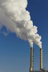 Smoke from chimneys.