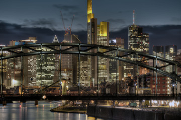 Frankfurt Skyline Through Bridge