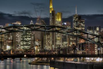 Frankfurt Skyline Through Bridge