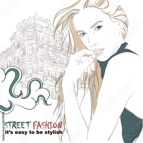 Fashion girl on the street vector illustration