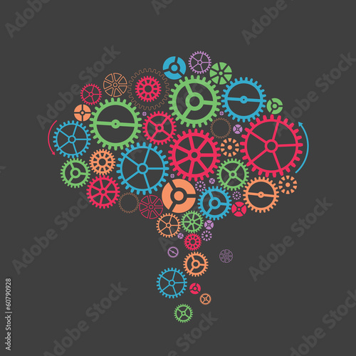 Colorful gearslike a brain. Abstract background
