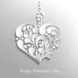 vector background with a paper heart, Valentine's Day