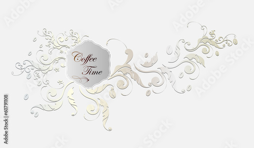 Coffee label and floral frame