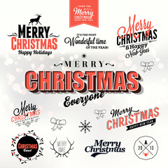 Christmas and New Year symbols for postcard,