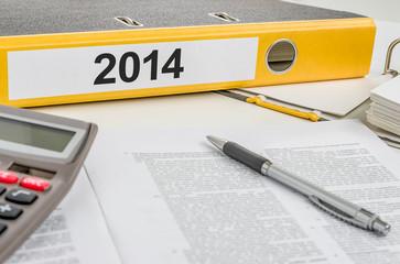 Aktenordner mit der Beschriftung 2014