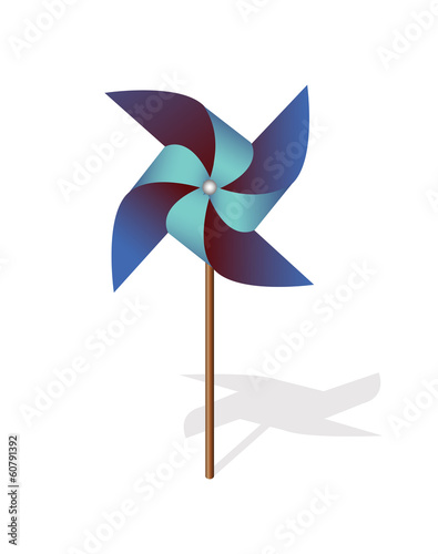 Blue pinwheel 3d  vector