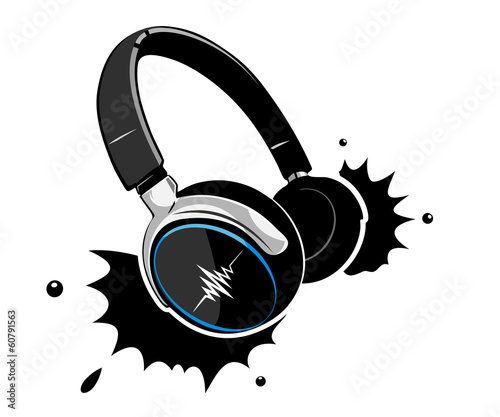 Headphones on a white background with blots