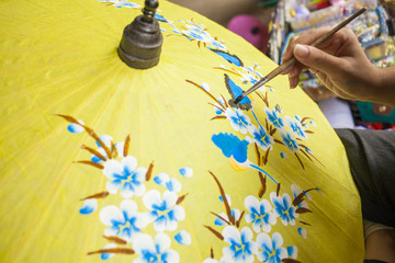 umbrella painting, flower hand paining on yellow umbrella
