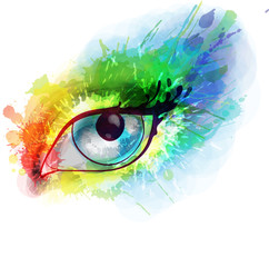 Woman eye made colorful splashes