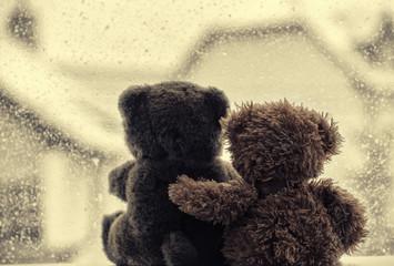 Bears in love's embrace, sitting in front of a window