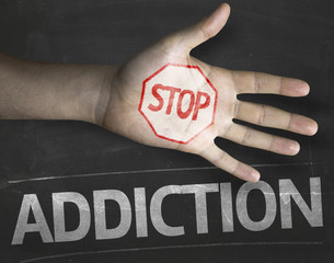 Creative composition with the message Stop Addiction