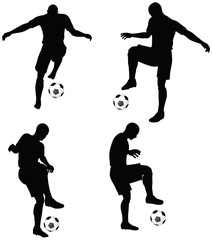 poses of soccer players silhouettes in dribble position