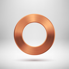 Abstract Circle Button with Bronze Metal Texture