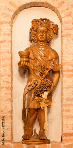 Bakchus carved statue from interior of wine cellar