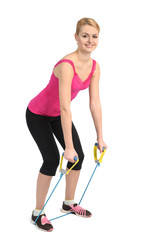 Back extension exercise using rubber resistance band