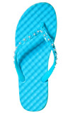 one summer sandal turquoise color on a white background