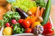 canvas print picture - Obst und Gemüse in einem Korb