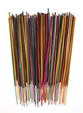 Colorful group of incense sticks on white background - 60794710