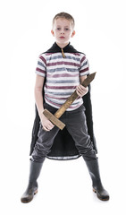 superhero vintage style. Wooden sword and cape