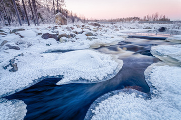Icy Sunset on the River