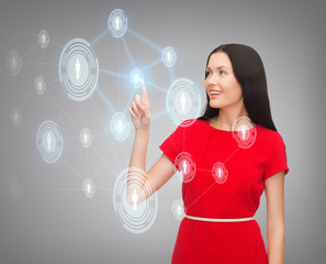 woman in red dress and business network