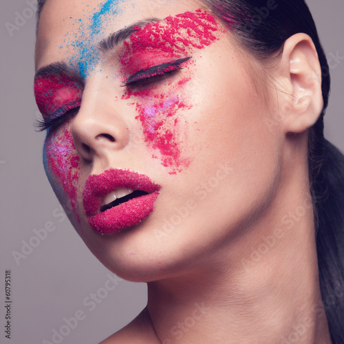 Filtered Beauty shot of fashionable makeup
