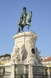 Memorial statue in Commerce square, Lisbon, Portugal