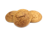 fresh oatmeal cookies on a white background