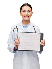 female doctor with sclipboard and cardiogram
