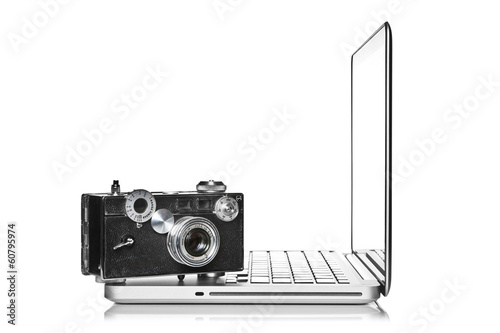 Camera and laptop
