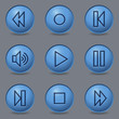 Media player web icons, circle blue buttons