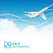 Travel background with airplane and white clouds
