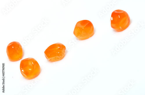 red caviar on a white background. macro