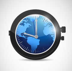 world map watch illustration design